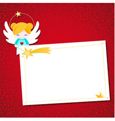 Little cartoon angel decorated christmas label vector