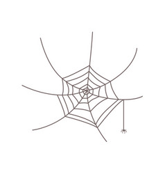 Little spider hanging from web halloween symbol vector