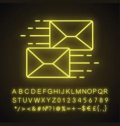 mailing neon light ico vector image