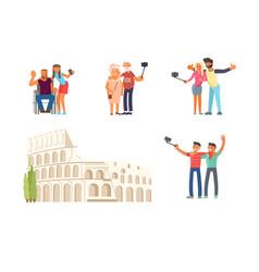 make a photo on colosseum rome vector image