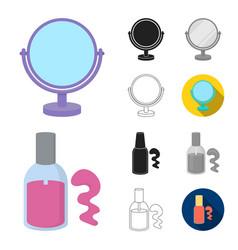 Makeup and cosmetics cartoonblackflatmonochrome vector