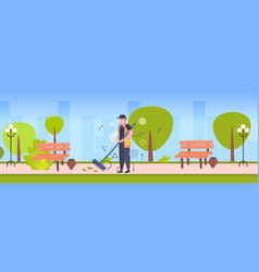 man cleaner sweeping street from leaves with broom vector image