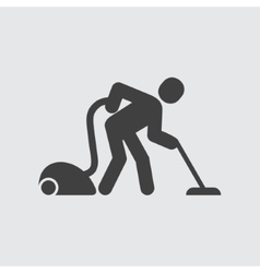 Man with vacuum cleaner icon vector image