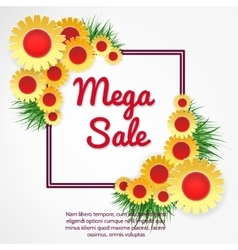 Mega sale banner with flowers vector