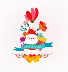 Merry christmas bouquets with santaclaus and vector image