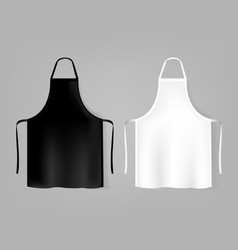 Mockup white and black aprons isolated grey vector