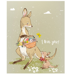 mom kangaroo with little baby and flowers vector image