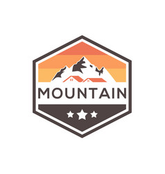 mountain estate badge logo design vector image
