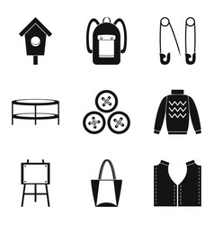 Needlework icons set simple style vector