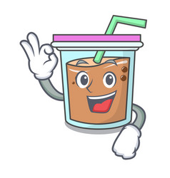 Okay bubble tea character cartoon vector