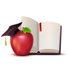 Open book red apple and motarboard symbol of vector