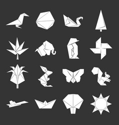 origami icons set grey vector image