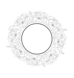 Peony flower banner wreath outline vector