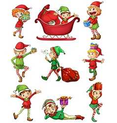 Playful Santa elves vector image