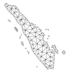 Polygonal wire frame mesh map of sumatra vector