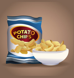 Potato chips snacks vector