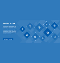 Productivity banner 10 icons conceptperformance vector
