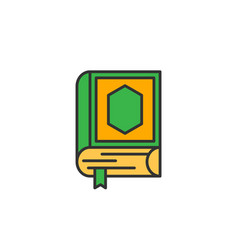 Quran the holy book of islam simple monoline icon vector