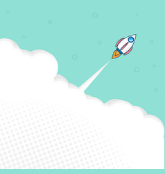 rocket launch with space flat design background vector image
