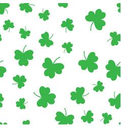 seamless green shamrock clover leaf pattern vector image