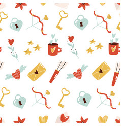 seamless pattern with cute element on white vector image