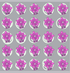 seamless pattern with flowers and swirls on gray vector image