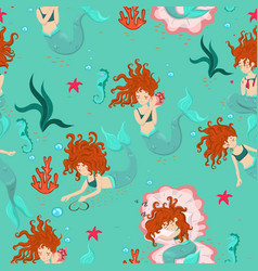 seamless pattern with mermaids and sea animals vector image