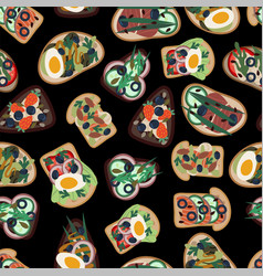 seamless pattern with sandwiches from healthy food vector image