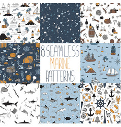set nautical patterns vector image