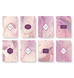Set of marble pink backgrounds vector