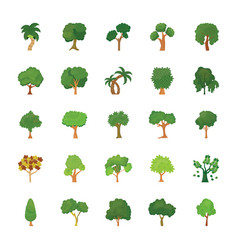 Set of trees flat icons vector