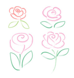 set watercolor flower elements on white background vector image
