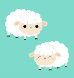 sheep lamb icon set sleeping eyes cloud shape vector image