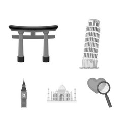 sights of different countries monochrome icons in vector image