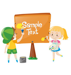 sign template with kids painting the sign vector image