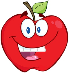 Smiling apple cartoon character vector