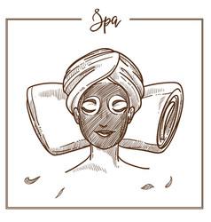 spa salon woman facial mask treatment vector image