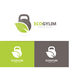 sport and leaf logo combination gym and vector image