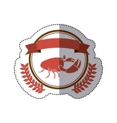 sticker circular border with crown branch with vector image