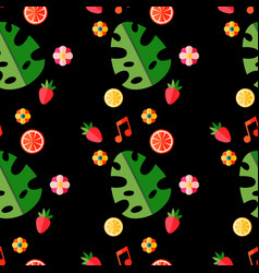 Summer tropical pattern with fruits and leaves vector