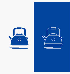 Tea kettle teapot camping pot line and glyph web vector