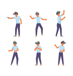 teens school boy using virtual reality glasses vector image