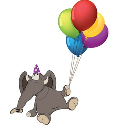 The elephant calf and birthday balloons Cartoon vector image