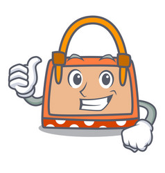 thumbs up hand bag character cartoon vector image