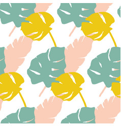 tropical leaves pattern in mint yellow and pink vector image