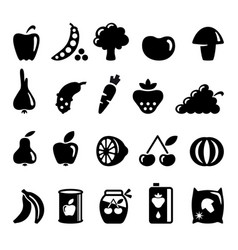 Vegetables and fruit icons vector