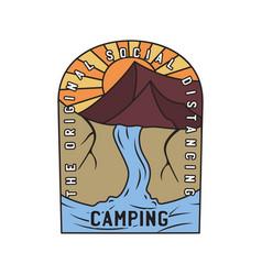vintage camping logo adventure emblem vector image