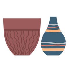 Vintage crockery traditional ancient ceramic jugs vector