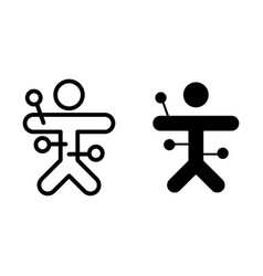 Voodoo line and glyph icon voodoo doll vector