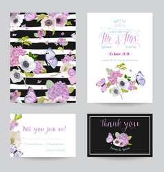 Wedding invitation template set botanical card vector